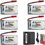 Powerextra 5 Pcs 3.7V 750mAh Lipo Battery(JST Plug) with X5 Charger for MJX X400 X400W X800 X300C Sky Viper S670 V950hd V950str HS200W