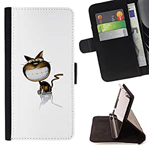 For LG G2 D800,S-type Funny Cat linda sonrisa- Dibujo PU billetera de cuero Funda Case Caso de la piel de la bolsa protectora