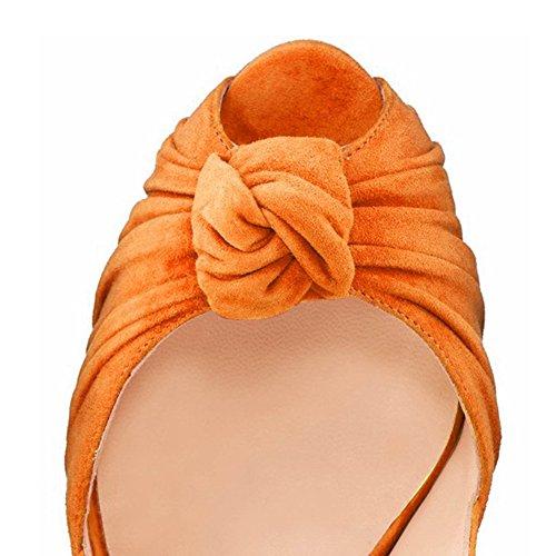 Piattaforma Le Arancione Tacco Pompe Della Toe Alto Sottili Peep Per Stiletto Slingbacks Donne Sandali Umexi Partito wZ0qOXW