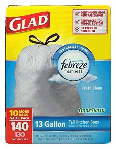 Glad 13 Gallon Odor Shield Tall Kitchen Trash Bags, 140 Count -