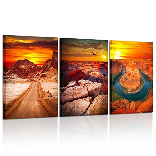 Kreative Arts - 3 Pieces Canvas Prints Wall Art Famouns View of Grand Canyon Arizona USA Beautiful Landscape Pictures Printed Sunset Scenery Framed Artwork for Home Office Decor 16x24inchx3pcs