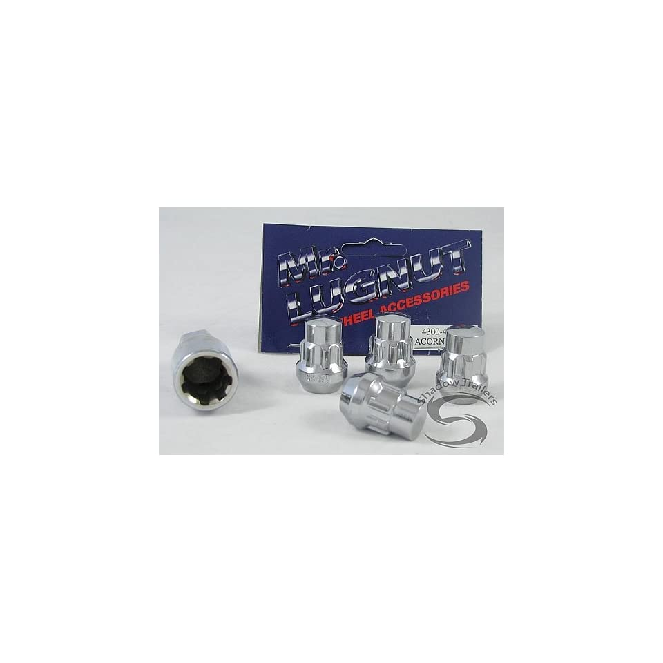 Chrome Spline Bulge Trailer Wheel Lug Nut Lock 1/2 in. Thread 3/4 and 13/16 Dual Socket   Mr. Lug