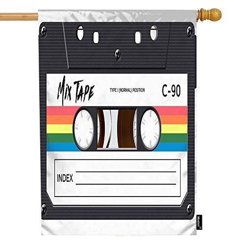 Moslion Music House Flag Vintage Cassette 80S Revival Mix Tape Disco Dance Hipster Garden Flags 28x40 Inch Double-Sided Banner Welcome Yard Flag Home Outdoor Decor. Lawn Villa