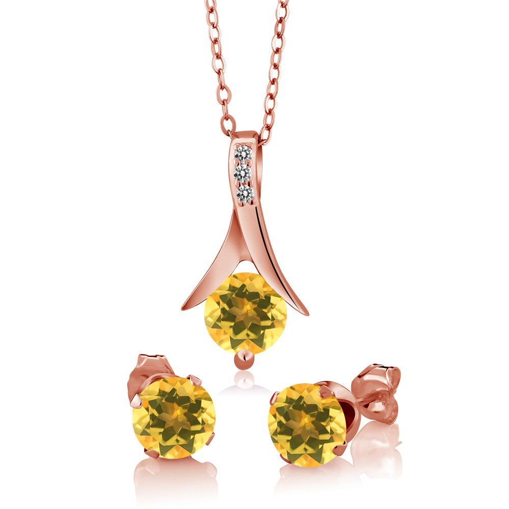 2.15 Ct Yellow Citrine White Diamond 18K Rose Gold Plated Silver Jewelry Set