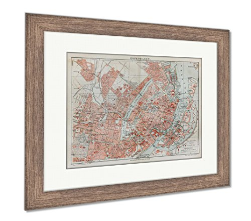 Ashley Framed Prints Vintage Map of Copenhagen at The End of 19th Century, Wall Art Home Decoration, Color, 26x30 (Frame Size), Rustic Barn Wood Frame, AG2081949