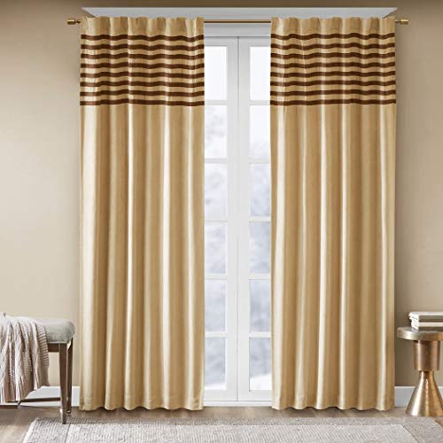 - 2 Piece 84 Inch Girls Chocolate Beige Rugby Stripes Curtains Panel Pair Set, Dark Brown Color Drapes Pieced Striped Pattern Window Treatments Kids Teen Themed Horizontal Lines Design, Faux Microsuede