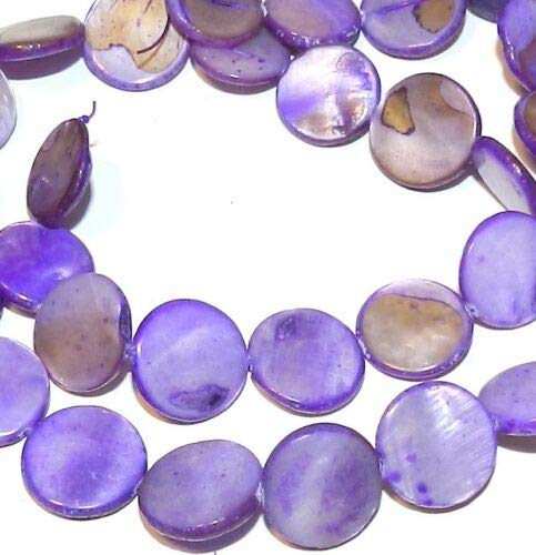 - MP679 Purple 14mm Flat Round Mother of Pearl Gemstone Shell Beads 15'' Crafting Key Chain Bracelet Necklace Jewelry Accessories Pendants