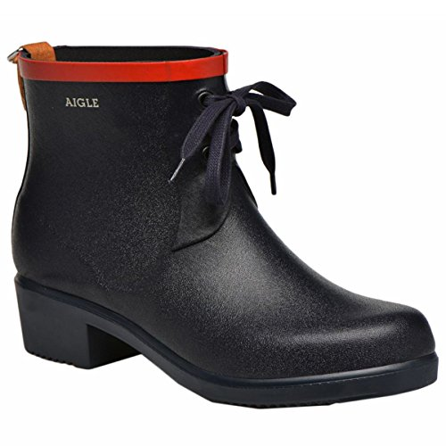 Aigle Rain Boots (Aigle Womens Miss Juliette Bottillon Lacet Marine Red Rubber Boots 40 EU)