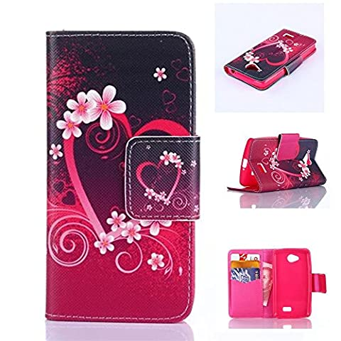 LG F60 Case LG Optimus F60 MS395 Kickstand Case,Bat King Red Wreath Pattern [Magnetic] Style Premium Leather Case Wallet Flip Stand [Flap Closure] Cover Case for LG Optimus F60 (Lg Optimus Cell Phone Holster)