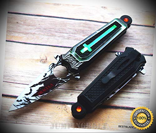 SPRING ASSISTED SHARP KNIFE WITH POCKET CLIP - 7.75 INCH - Premium Quality Hunting Very Sharp EMT EDC]()