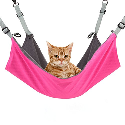 Cusfull Cat Hammock Bed Comfortable Hanging Pet Hammock Bed for Cats/Small Dogs/Rabbits/Small Animals, Rose-Red