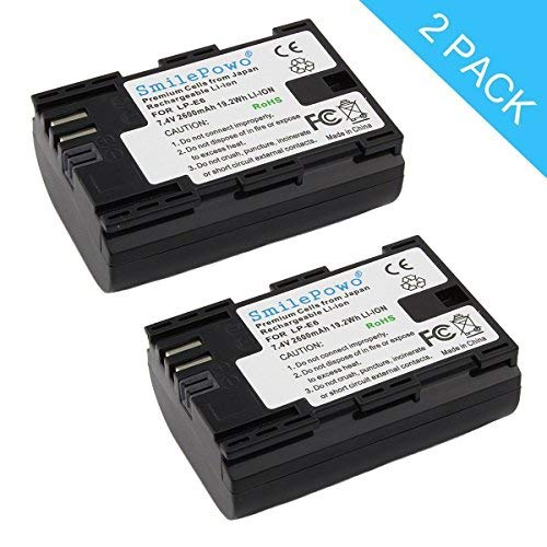 SmilePowo 2 Pack LP-E6 Battery and Dual Battery Charger with USB LED Display for Canon EOS 6D, 7D, 70D, 60D, 5D Mark III, 5D Mark II, BG-E14, BG-E13, BG-E11, BG-E9, BG-E7, BG-E6 Grips, LP-E6N