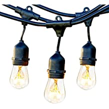 Brightech Ambience Pro Waterproof Outdoor String Lights with Hanging Sockets - 48 Ft Market Cafe Edison Vintage Bistro Commercial Grade Strand for Patio Garden Porch Backyard Party Deck Yard – Black
