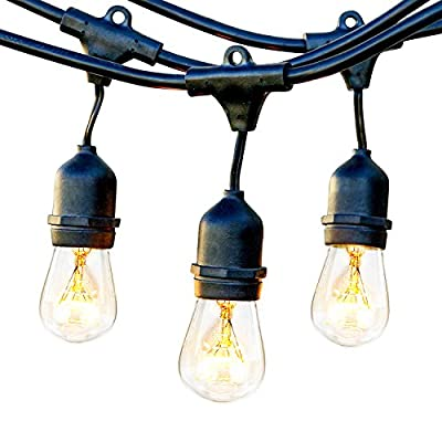 Brightech Ambience Pro Commercial Grade Outdoor Strand Lights with Hanging Sockets - Market Cafe Edison Vintage Bistro Weatherproof Strand for Patio Garden Porch Backyard Party Deck Yard -  - patio, outdoor-lights, outdoor-decor - 51GAAk6nbYL. SS400  -