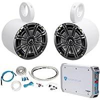 (2) Kicker 41KM654CW 6.5 195w Marine Wakeboard Tower Speakers+Amplifier+Amp Kit