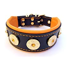 "Bestia """"Bijou"""" studded dog collar, HANDMADE, Labrador, bulldog, terrier, german shepherd, 2 inch wide, 100% leather, perfect fit, soft padded, medium sized, Made in Europe"