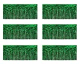 Beistle 55038-G 1-Ply Green Flame Resistant Metallic Fringe Drapes, 15 Inch by 10 Feet, 6 Piece