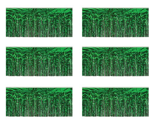 Beistle 55038-G 1-Ply Green Flame Resistant Metallic Fringe Drapes, 15 Inch by 10 Feet, 6 Piece ()