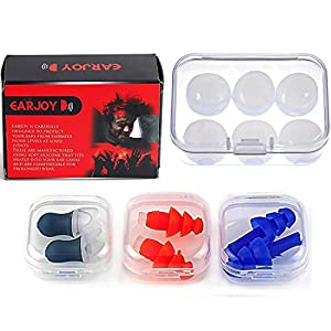 Noise Cancelling Ear Plugs by EarJoy – for Swimming Sleeping Musicians. Reusable. for Shooting Swim Concerts Sleep. Earplugs Sound Blocking. Silicone Base. Best Sound Reduction.