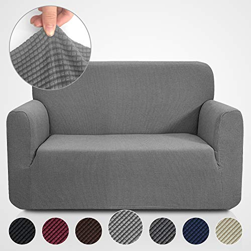 Rose Home Fashion RHF Jacquard-Stretch Loveseat Slipcover Slipcovers for Couches and Loveseats, Loveseat Cover&Couch Cover for Dogs, 1-Piece Sofa Protector(Loveseat: Gray)