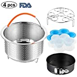 Accessories Set Compatible Instant Pot-Fits 6,8Qt Instant Pot Pressure Cooker,4-Pcs with Steamer Basket,Egg Steamer Rack,Silicone Egg Bites Mold,Non-Stick Springform Pan,Best Gift Idea