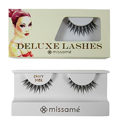 Missamé ENVY Deluxe Beauty False Eyelashes Set Handmade with Premium Synthetic Fibers, Black, 1 Pair