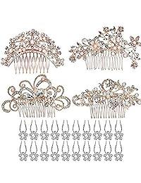 24 Pack Bridal Wedding Hair Comb, Rose Gold 4pcs Bridal Wedding Hair Combs+20pcs Crystal Hair Pins Hair Clips for Women Bridal Wedding Supplies