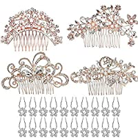 24 Pack Bridal Wedding Hair Comb, Rose Gold 4pcs Bridal Wedding Hair Combs+20pcs Crystal Hair Pins Hair Clips for Women Bridal Wedding Supplies