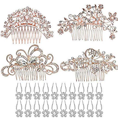 Set of 24pcs Bridal Hair Accessories, Rose Gold Bridal Wedding Hair Combs with 20pcs Crystal Hair Pins Hair Clips for Women Bridal Wedding Headpiece Supplies Kicpot