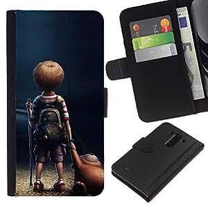 BearCase / Cuero de la tarjeta la carpeta del tirón Smartphone Slots Protección Holder /// LG G3 /// Historieta del niño del muchacho del oso de peluche Arte Amistad