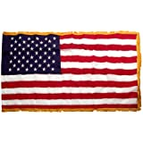 American 3ft x 5ft Nylon Flag with Indoor Pole Hem and Fringe - Made By Valley Forge