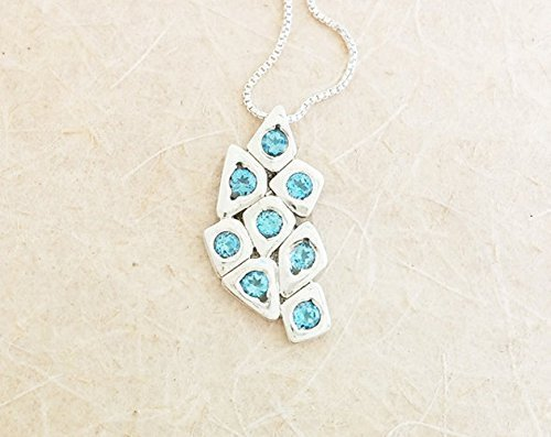 Delicate Sterling Silver Blue Topaz November Birthstone Pendant Necklace Anniversary Birthday Mothers Day Mothers Day Gift