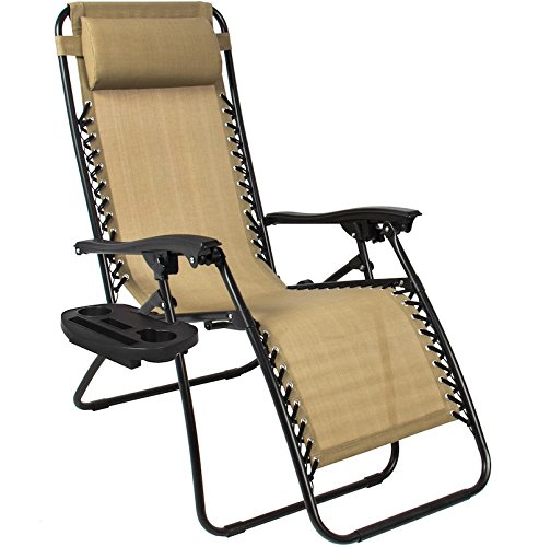 Tan Zero Gravity Chairs With Cup Tray Holder Lounge Folding Foldable Utility Case Beach Recliner Patio Outdoor Yard Garden Deck Backyard Camping Picnic Pool Décor Furniture UV-Resistant Mesh Material (Zero Gravity Chair Big Lots)