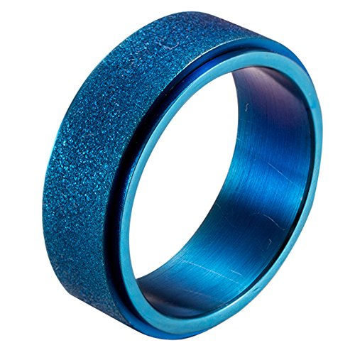 PAURO Men's Stainless Steel Blue Sandblast Finish Spinner Worry Ring 8mm Band Size 10