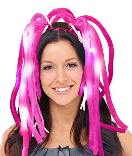 Fun Central R370, 1 Pc 7.5 Inches, Pink LED Light Up Party Dreads, LED Party Rave Disco Flashing Noodle Wig, Light Glowing Colored Dreads, Party Dreads for Halloween, Dress Up Parties
