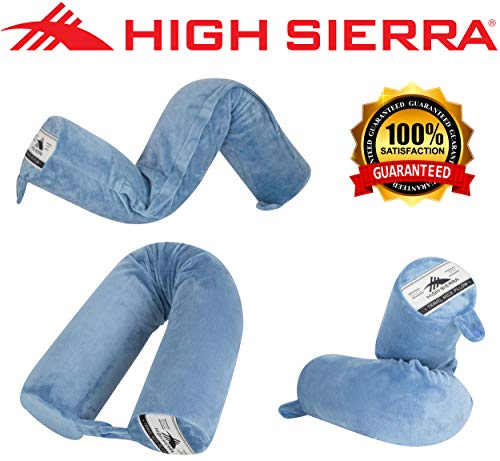 High Sierra HS1375 - Flexible Travel Pillow - Twist & Bend - Helps Relieve Neck Pain - 100% Pure Memory Foam - Exceptional Head & Neck Support - Washable Cover - Perfect for Flights & Road Trips