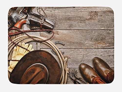 Western Bath Mat by Lunarable, American Legend Cowboy Ranching Gear Retro Gun in Holster Antique Hat Rustic, Plush Bathroom Decor Mat with Non Slip Backing, 29.5 W X 17.5 W Inches, Tan and (Western Bath Mat)