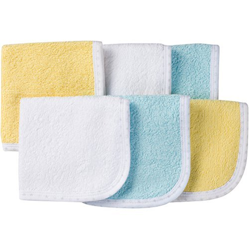 6-Pack 100% Cotton Terry Washcloths (Pastels)