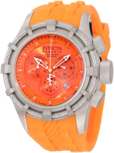 Invicta Men's 1370 Bolt Chronograph Orange Dial Orange Silicone Watch