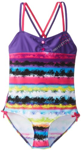 Big Chill Girls 7-16 Stripe One Piece Swimsuit, Purple, 14/16