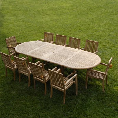 Fine New 11Pc Grade A Teak Outdoor Dining Set 115X44 Extra Thick Oval Double Extension Table 10 Patara Arm Chairs Umbrella Uwap Interior Chair Design Uwaporg