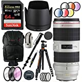Canon EF 70-200mm f/2.8L IS II USM Telephoto Zoom Lens with Deluxe Tripod Plus 64GB Accessories Bundle