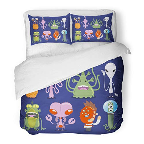 Emvency Bedding Duvet Cover Set Twin (1 Duvet Cover + 1 Pillowcase) Green Mars Space Alien UFO Monster Tentacle Spacecraft Invaders Antenna Halloween Hotel Quality Wrinkle and Stain -