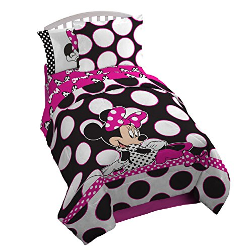 Disney Minnie Mouse 'Dots are the New Black' 5 Piece Twin Bed In A Bag (Mini Mouse Bed Set)