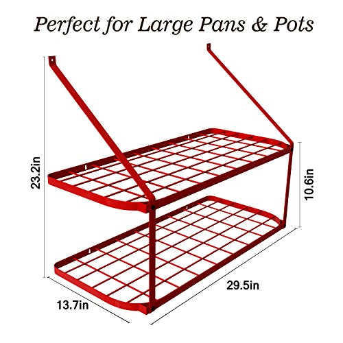 VDOMUS Pots and Pans Rack Wall Mounted Hanging Pot Shelf - 2 Tire (Red)