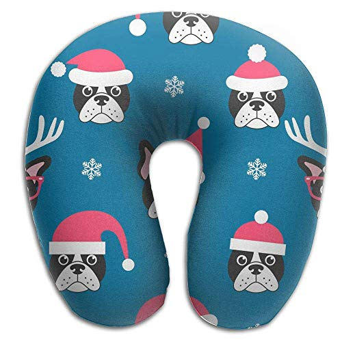 Bulldogs Pillow Santa (KJHDSI French Bulldogs with Santa Comfortable Travel Pillow,Comfort Master Neck Pillow, a Memory Foam Pillow That Provides Relief and Support for Travel, Home, Neck Pain, and Many More,Neck Pain)