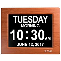 American Lifetime - Day Clock - Extra Large Impaired Vision Digital Clock with 4 Alarm Options & Battery Backup (Wood Color)