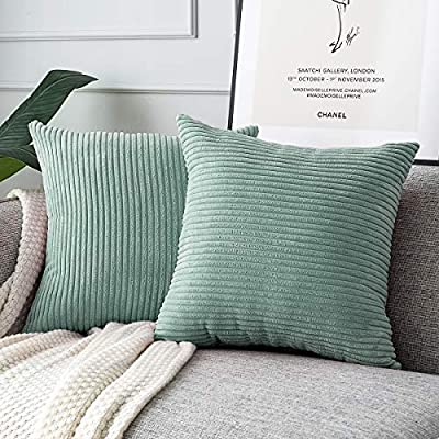 MUDILY Pack of 2, Fluffy Soft Velvet Corduroy Soft Decorative Square Throw Pillow Covers Set Cushion Cases Pillowcases for Sofa Bedroom Car, Grey Green 16 x 16 inch 40 x 40 cm - SIZE & COLOR: 2pcs of 16 x 16 Inch / 40 x 40cm pillow covers. Grey Green. No Filler or Insert. Please allow 1~2cm deviation because of handmade. MATERIAL: Unlike most other products, we have added a quality lining to make the pillowcase more beautiful and firm.Our pillow covers use 100% high quality polyester.Very soft and skin friendly. CREATE YOUR IDEAL HOME: Rich Solid Color Style, you will easily find pillow covers to coordinate with your decor! Suitable for living room, Sofa, Chair, bedroom, balcony, car, study, office, cafe,etc. - living-room-soft-furnishings, living-room, decorative-pillows - 51GAEZ1foRL. SS400  -