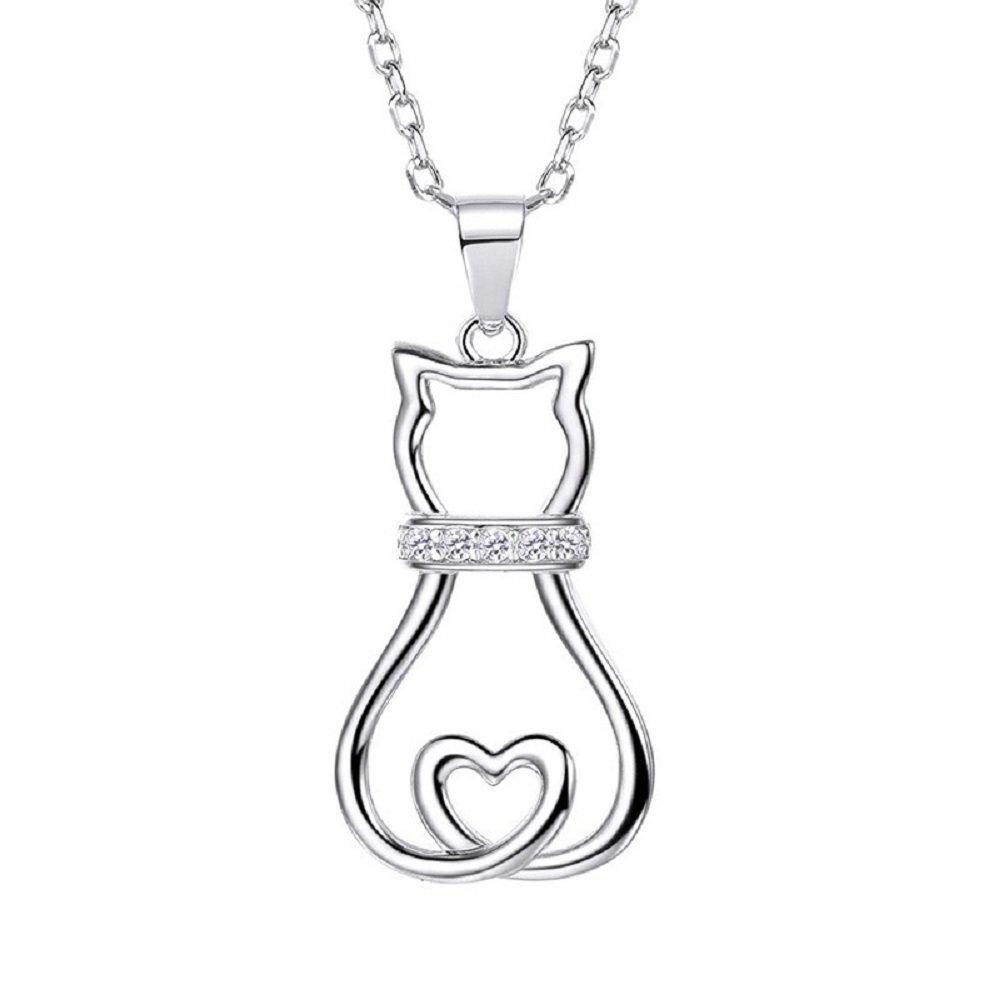 VirtualStoreUSA.com Cat Pendant Necklace Lovely Cute Animal CZ