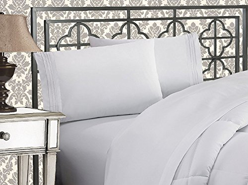 Elegant Comfort 4-Piece 1500 Thread Count Egyptian Quality Bed Sheet Sets with Deep Pockets, King, White (Comfort Sets)